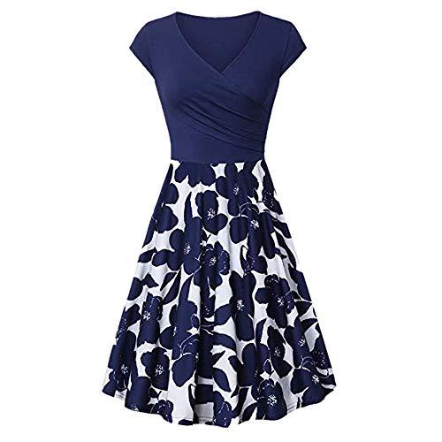 (Landfox Dress,Clothing Shoes, Women's Unique Cross V- Neck Dresses Temperament Elegant Flared A-Line Dress Dark)