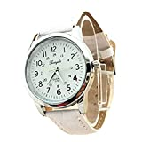 Elegant Analog Luxury Sports Leather Strap Quartz Mens Wrist Watch Wh