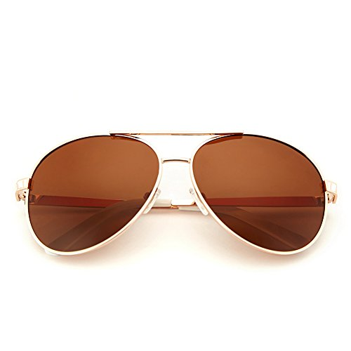 LotFancy Aviator Sunglasses for Women with Case, 61mm Lens, Metal Frame, 100% UV 400 Protection (Gold, Polarized - Discount Aviator Sunglasses