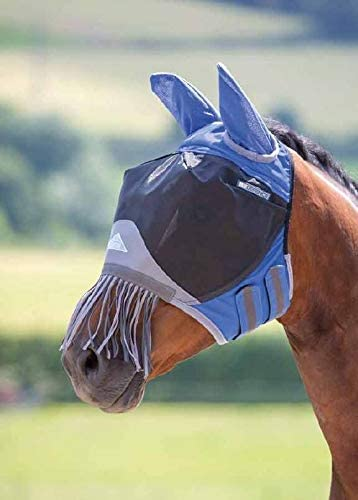 Shires Deluxe Fly Mask with Nose Fringe (Pony, Royal Blue)