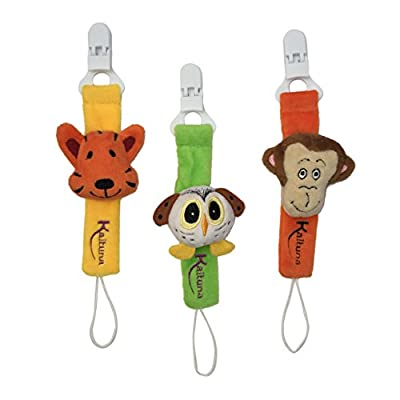 Pacifier clips by Kaituna -3 pack- Super cute pacifier holders in unisex plush tiger owl and monkey designs for baby Girls and Boys,great baby shower gift by Kaituna Ltd that we recomend personally.