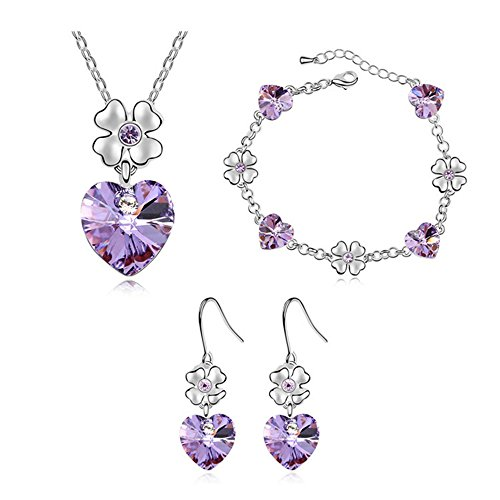FEDNON Heart Pendant Necklaces Heart Drop Dangel Earrings Bracelet with Violet Australia Crystal Jewelry Sets for Girlfriend by FEDNON