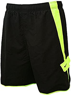 0a1893ca2e4 Mens Nike Boardshorts - Swim Trunks - Bathing Suit - Black with Volt Yellow  Stripe (Medium)