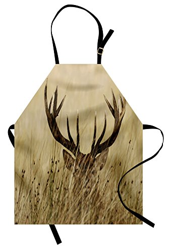 Lunarable Antler Apron, Whitetail Deer Fawn in Wilderness Stag in Countryside Rural Hunting Theme, Unisex Kitchen Bib Apron with Adjustable Neck for Cooking Baking Gardening, Brown Sand Brown