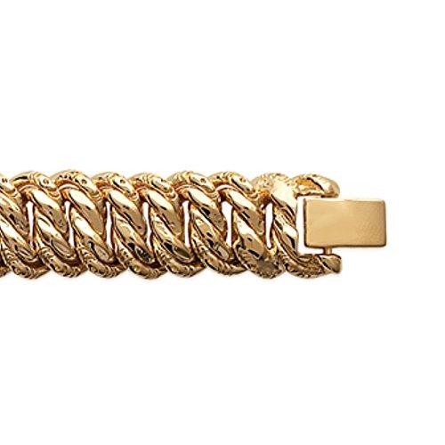 ISADY - Rosa Gold - Bracelet - Plaqué Or 750/000 (18 carats) - Gourmette à graver - Gravure Offerte - Maille Gourmette - Longueur 19 cm