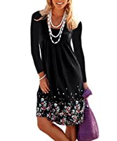 AELSON Womens Summer Casual Long Sleeve Mini Dresses Tunic Dress