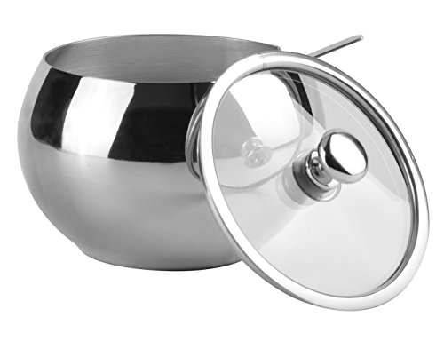 Hardnok Stainless Steel Sugar Bowl With Glass Lid And Spoon