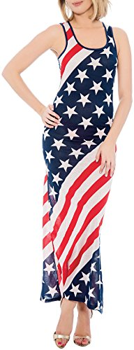Enimay Women's July 4th American Flag Summer Long Maxi Dress Stars and Stripes American Flag 7508 (Patriotic Dresses)