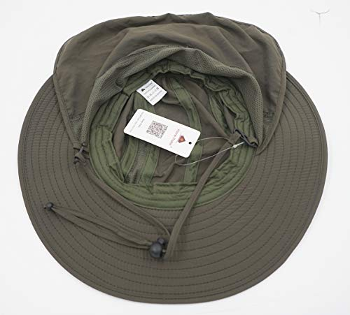 8301fb7a ... Home Prefer Mens UPF 50+ Sun Protection Cap Wide Brim Fishing Hat with  Neck Flap ...