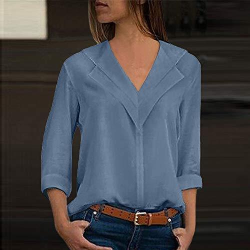 des Femmes Bureau Dames T Chemisier de Soie Blouses Longues Manches Blue Sky Mousseline Solide Shirt x0B0wr8qU