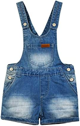 Kidscool Space Baby & Little Boys Big Bib Pocket Leather Decor Cuffed Bottom Water Washed Processing Denim Shortalls