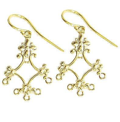 14k Gold Plated Flower - FidgetFidget 2X Sterling Silver Flower Chandelier Earring Connector 14K Gold Plated / 2 Pieces (1 Pair)