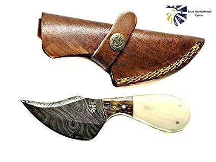 Amazon.com: Damasco cuchillo de desollar por Titan//hueso ...