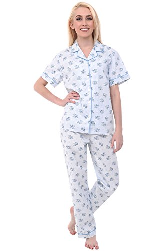 Alexander Del Rossa Womens Cotton Pajamas, Woven PJ Set With Pants, XL Pinstripe Floral, Piping (A0518B45XL) (Stripe Pajama Top Woven)