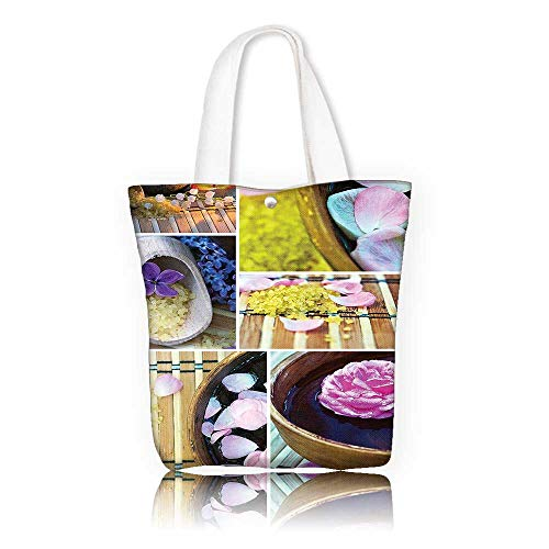 Tote Organic Spa (Ladies canvas tote bag —W15 x H14 x D4.7 INCH/Shopping Travel Tote Bag Home Decor Spa Organic Cosmetics Theme Wooden Bowl Petals Lavender Candle Pebbles Therapy Oils Image Purple Brown.)
