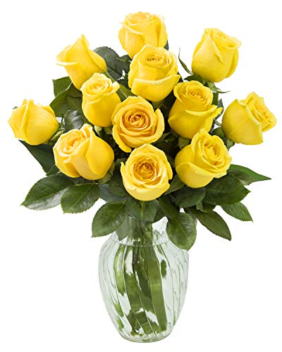 KaBloom Bouquet of 12 Fresh Yellow Roses (Farm-Fresh, Long-Stem) with Vase