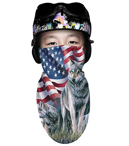 Scsdw Wdrt Ski mask for Kids Wolf Flag