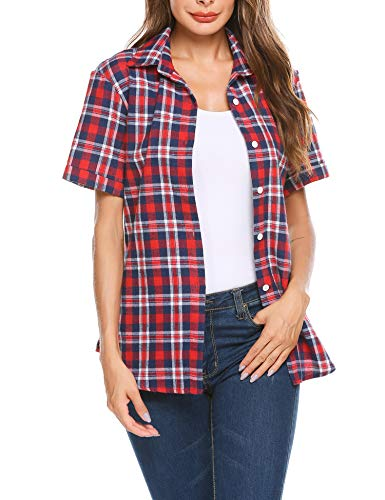 SUNAELIA Womens Plaid Flannel Shirt Short Sleeve Boyfriend Button Down Cotton Casual Blouse Check Gingham Top - Sleeve Flannel Short