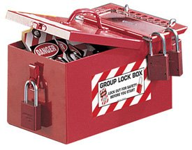 Steel with Lexan window Portable Storage/Group Lock Box - 6'' x 7 3/4'' x 12 1/4'', Red by Emedco