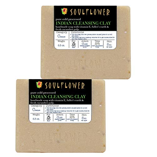 Cleansing Clay Handmade Soap with Coconut Oil, (5.3Oz x 2 bars) 100% Natural, Organic, Vegan & Cold processed, USFDA approved - Soft and Radiant for Oily Skin - Indian Formulation (Best Soap For Oily Sensitive Skin)