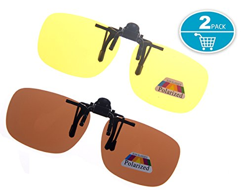 Shileded Retro Polarized Clip On Sunglasses Clip Up Sunglasses Plastic Clip-On glasses Lenses Over Prescription Eyglasses for Men/Women,2 Piece Anti Glare Driving - On Glasses Clip Dark