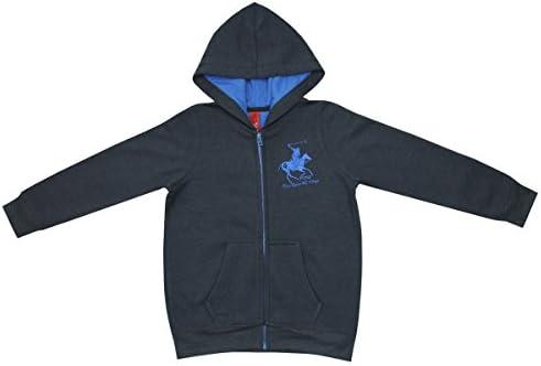 Boys Polo Horse Hoodie Kids Hooded Zip Jumper Top New Grey Blue Navy 3-4 5-6 Yrs