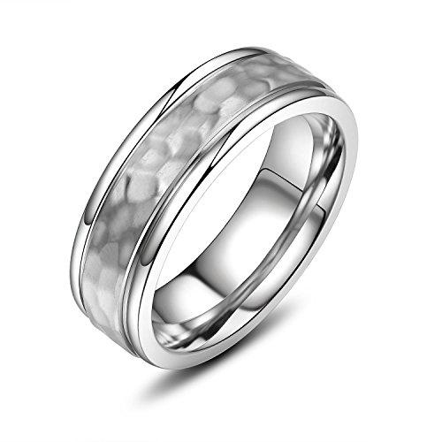 VXGold Titanium Ring Hammered Mens Wedding Band (12)