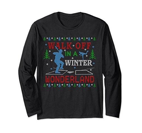 Unisex Baseball Walk Off Ugly Christmas Sweater Party T-shirt XL: Black