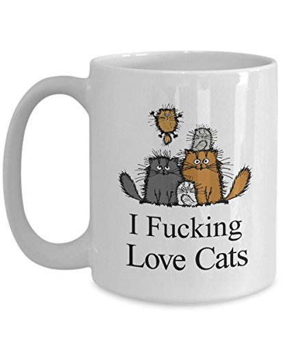 MORI-TM, Coffee Mug - I fucking love cat -11oz and 15oz White Black Ceramic Cup - Best Funny Cat Gift for Men Women Dad Mom Boy -