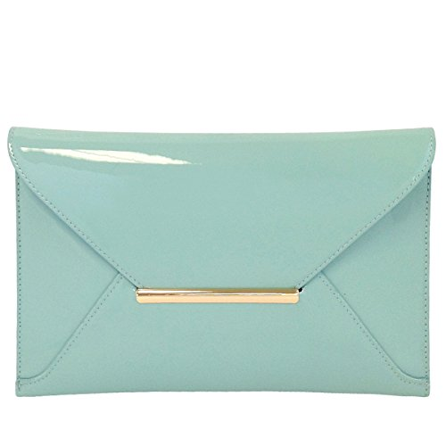 Faux Patent Leather Envelope Candy Clutch Bag, Mint