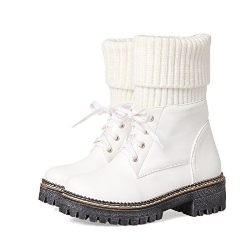 YE Damen Chunky Heels Ankle Boots High Heels Stiefeletten Plateau mit Schnürung und 5cm Absatz Modern Bequem Schuhe Weiß