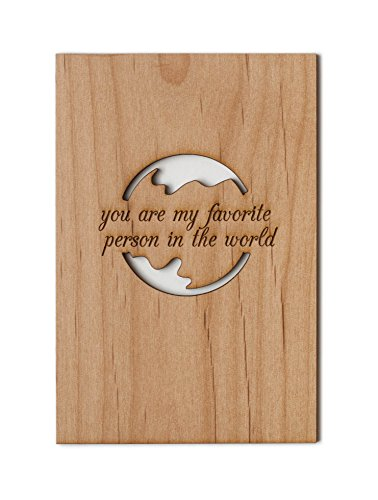 Favorite Person in the World Laser Cut Wood Card (Love / 5 Year Anniversary / Boyfriend or Girlfriend / Valentine's Day / Personalized Available) by Cardtorial
