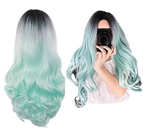 NEJLSD Wigs For Women Long Curly Wavy Synthetic Hair 2 Tones Ombre Dark Roots Midddle Part Full Head Wigs Hairstyles Halloween 27.5 inch (Black&Green) -