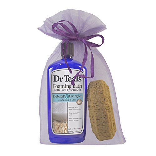 Dr Teal's Foaming Bubble Bath and Natural Bath Sponge Gift Bag (Detoxify Ginger & Clay)