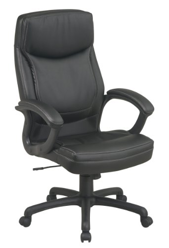 - Office Star High Back Thick Padded Contour Seat and Back Eco Leather Executive Chair with Locking Tilt Control with 2-tone Stitching,, Black