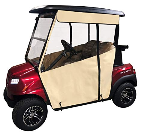 (Linen Golf Cart Cover - 3-Sided Track Style Sunbrella Canvas Cart Cover for Club Car Precedent - Drivable Golf Cart Cover - Linen Rain Cover for Golfers - Fits Golf Bags, Utility Box, Rear Facing Seat)