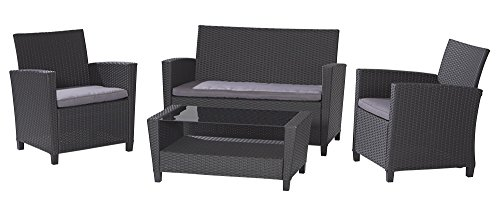 Cosco Plastic Box (COSCO Outdoor Living 4 Piece Malmo Resin Wicker Patio Deep Seating Conversation Set, Gray Cushions, Black Resin Wicker)
