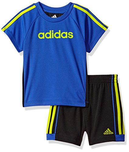 - Adidas Baby Boys Short Sleeve Tee and Short Set, Hi-Res Blue, 12M