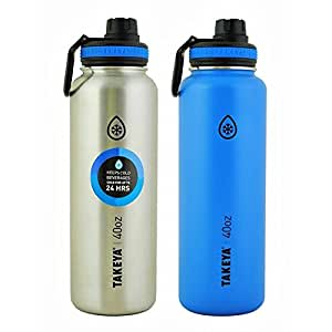 Takeya Thermo Double Wall Vacuum Insulated Stainless Steel Water Bottle 2 Pack 40 oz Blue and Silver