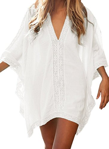 Queenmore Women´s V Neck Plus Size Bikini Cover Ups with Sleeve Beach Dress White