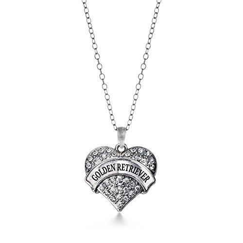 - Inspired Silver Golden Retriever Pave Heart Necklace Clear Cystal Rhinestones