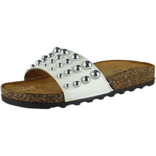 Nouveaux LoudLook Tailles Slip Sliders 41 Glissières Chaussures 36 Studded Appartements Pantoufles sur Comfy Blanc Femmes wrXntSqPr