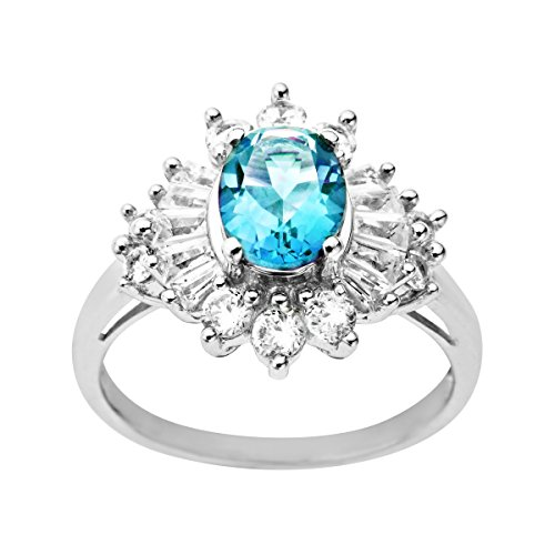 2 5/8 ct Created Blue Topaz and Created White Sapphire Ring in Sterling Silver