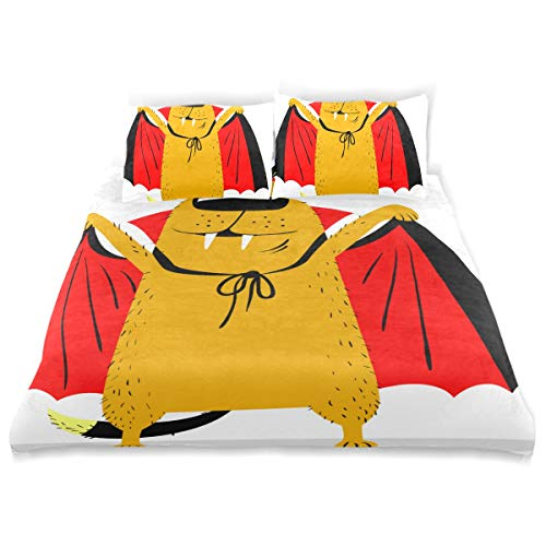 CANCAKA Halloween Duvet Cover Set Halloween Dog Character Costume Vampire Horror Design Bedding Decoration Twin XL Size 3 PC Sets 1 Duvets Covers with 2 Pillowcase Microfiber Bedding Set Bedroom Deco -