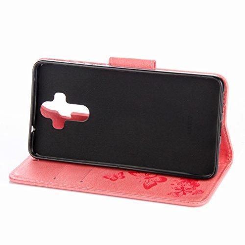 Yiizy Huawei Mate 9 Custodia Cover, Farfalla Fiore Design Sottile Flip Portafoglio PU Pelle Cuoio Copertura Shell Case Slot Schede Cavalletto Stile Libro Bumper Protettivo Borsa (Rosa)