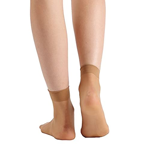 INCHER Women's 10 Pairs Ankle High Tights Hosiery Short Socks Sheer Toe Coffee (Ankle High Hose)