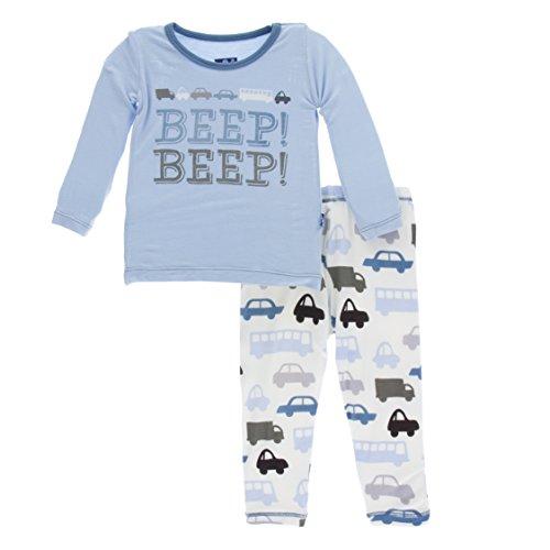 KicKee Pants Print Long Sleeve Pajama Set in Natural Cars and Trucks, 2T