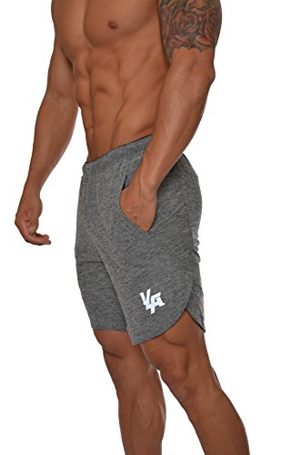 YoungLA Men's Running Shorts Athletic Gym Jogging Workout Powerlifting with Front Pockets Grey Medium by YoungLA