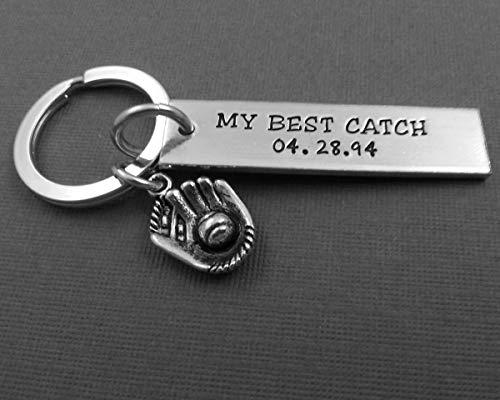 MY BEST CATCH Personalized Keychain - Husband - wife - Glove - Boyfriend - girlfriend gift - anniversary gift for him - anniversary gift