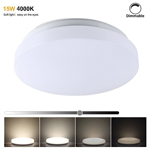S&G LED Ceiling Lights Dimmable 4000K 15W Equal 200W Incandescent Light 60W CFL, 13 Inch Bathroom Lighting Fixture, Budget-Firendly